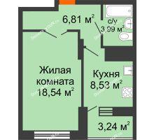 1 комнатная квартира 39,49 м² в ЖК Встреча, дом № 1 - планировка