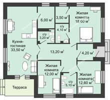 3 комнатная квартира 116 м² в КП Green Park (Грин Парк), дом коттедж 116.0 м² - планировка
