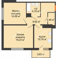 2 комнатная квартира 63,53 м² в ЖК Университетский парк, дом 2 очередь - планировка