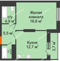 1 комнатная квартира 45,8 м², ЖК Космолет - планировка