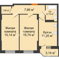 2 комнатная квартира 56,71 м² в ЖК Свобода, дом № 1 - планировка
