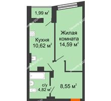 1 комнатная квартира 39,58 м² в ЖК Рубин, дом Литер 3 - планировка