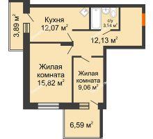 2 комнатная квартира 57,52 м², ЖК Abrikos (Абрикос) - планировка