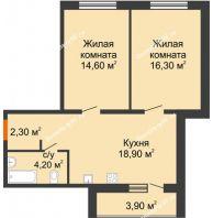 2 комнатная квартира 60,2 м² в ЖК Куйбышев, дом № 3 - планировка