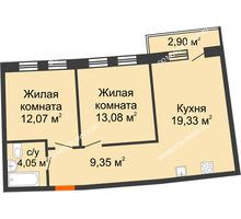 2 комнатная квартира 59,13 м² в ЖК Ватсон, дом № 3А - планировка