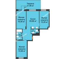3 комнатная квартира 92,59 м², ЖК Шаляпин - планировка