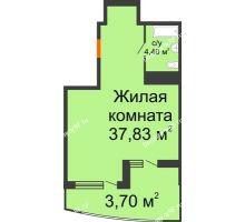 Студия 45,93 м² в ЖК Элегант, дом Литер 11 - планировка