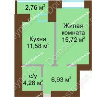 1 комнатная квартира 39,89 м² в ЖК Солнечный город, дом на участке № 214 - планировка