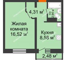 1 комнатная квартира 33,09 м² в ЖК Корабли, дом № 9-1