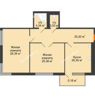 Студия 104,75 м², Жилой дом на ул. Платонова, 9,11 - планировка