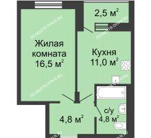 1 комнатная квартира 38,35 м² в ЖК Октава, дом №6