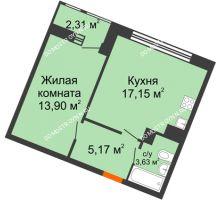 1 комнатная квартира 42,16 м² в ЖК Книги, дом № 1 - планировка