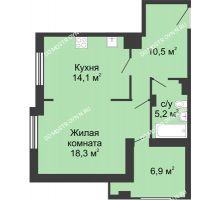 1 комнатная квартира 51,63 м² в ЖК Сердце Нижнего, дом № 35 - планировка