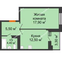 1 комнатная квартира 40,1 м² в ЖК Вересаево, дом Литер 5/1 - планировка