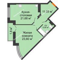 1 комнатная квартира 63,63 м² в ЖК Соборный, дом № 1 - планировка