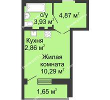 Студия 22,05 м² в ЖК Соловьиная роща, дом № 3 - планировка