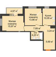 2 комнатная квартира 65,89 м² в ЖК Рассвет, дом № 7 - планировка