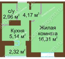 1 комнатная квартира 29,74 м² в ЖК Мончегория, дом № 1