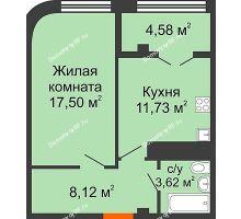 1 комнатная квартира 45,55 м² в ЖК Малахит, дом № 1 - планировка