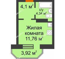 Студия 21,38 м² в ЖК Светлоград, дом Литер 15 - планировка