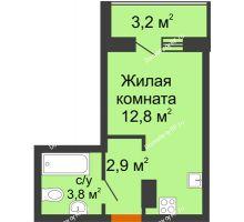 Студия 21,1 м² в ЖК Самолет 2, дом Литер 4 - планировка