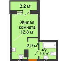 Студия 21,1 м² в ЖК Самолет 2, дом Литер 3 - планировка