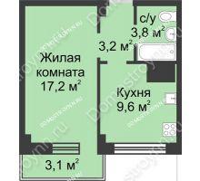 1 комнатная квартира 36,9 м² в ЖК Зенит, дом д. 7 - планировка