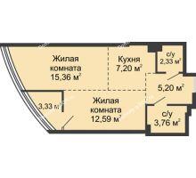 2 комнатная квартира 49,77 м², ЖК Белый Ангел - планировка