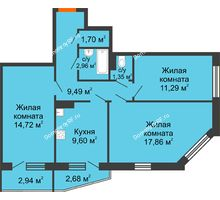3 комнатная квартира 71,78 м², ЖК 9 Ярдов - планировка