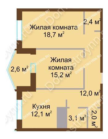 2 комнатная квартира 68,1 м² в ЖК Монолит, дом № 89, корп. 1, 2