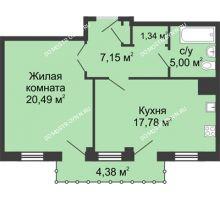 1 комнатная квартира 53,08 м² - ЖК Сергиевская Слобода