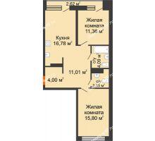 2 комнатная квартира 66,9 м² в Микрорайон Видный, дом ГП-20 - планировка