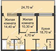 2 комнатная квартира 70,8 м² в ЖК Европейский квартал, дом ГП 3 - планировка