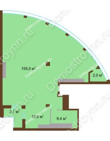 1 комнатная квартира 183,1 м² в ЖК Монолит, дом № 89, корп. 1, 2