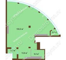 1 комнатная квартира 183,1 м² в ЖК Монолит, дом № 89, корп. 1, 2 - планировка