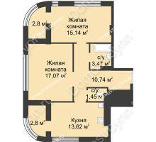 2 комнатная квартира 64,31 м² в ЖК Караваиха, дом № 5 - планировка