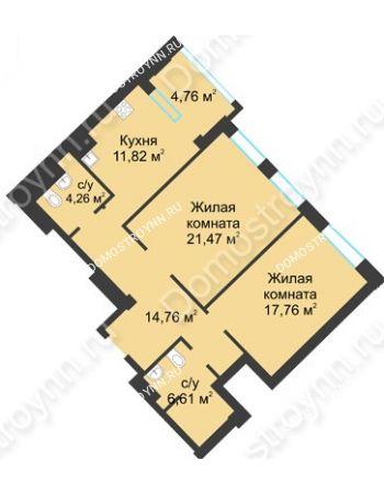 2 комнатная квартира 79,06 м² в ЖК Воскресенская слобода, дом №1