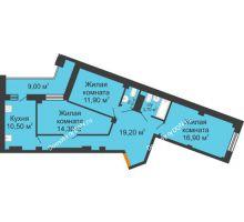 3 комнатная квартира 83,1 м² в ЖК Манхэттен О2, дом Дом 2 - планировка