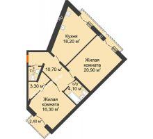 2 комнатная квартира 76,4 м², Жилой дом: г. Дзержинск, ул. Кирова, д.12 - планировка