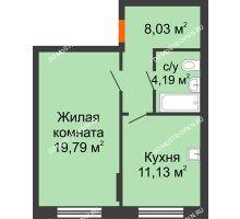 1 комнатная квартира 43,14 м², Жилой дом: ул. Сухопутная - планировка