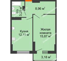 1 комнатная квартира 41,73 м², ЖК Орбита - планировка