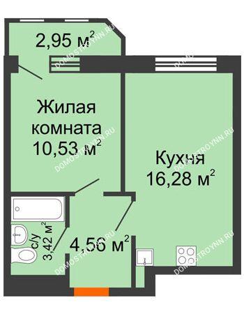 1 комнатная квартира 37,74 м² в ЖК Город времени, дом № 18