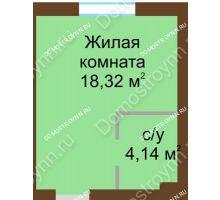 Студия 22,46 м² в ЖК Каменки, дом №14 - планировка
