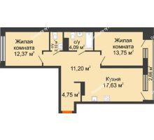 2 комнатная квартира 67,2 м² в Микрорайон Видный, дом ГП-20 - планировка
