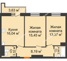 2 комнатная квартира 60,94 м², ЖК На Высоте - планировка