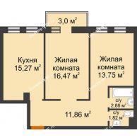 2 комнатная квартира 62,95 м² в ЖК Новоостровский, дом № 2 корпус 1 - планировка