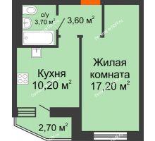 1 комнатная квартира 36,1 м² в ЖК 5 Элемент - Монолит (Пятый Элемент), дом Корпус 5-7 - планировка