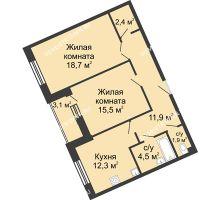 2 комнатная квартира 69,9 м² в ЖК Монолит, дом № 89, корп. 3 - планировка