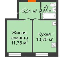 1 комнатная квартира 31,31 м², ЖК Советский - планировка