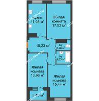 3 комнатная квартира 78,3 м² в ЖК Облака, дом № 2 - планировка